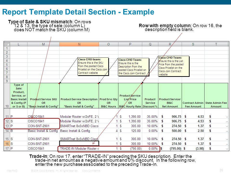 Report Template Detail Section - Example
