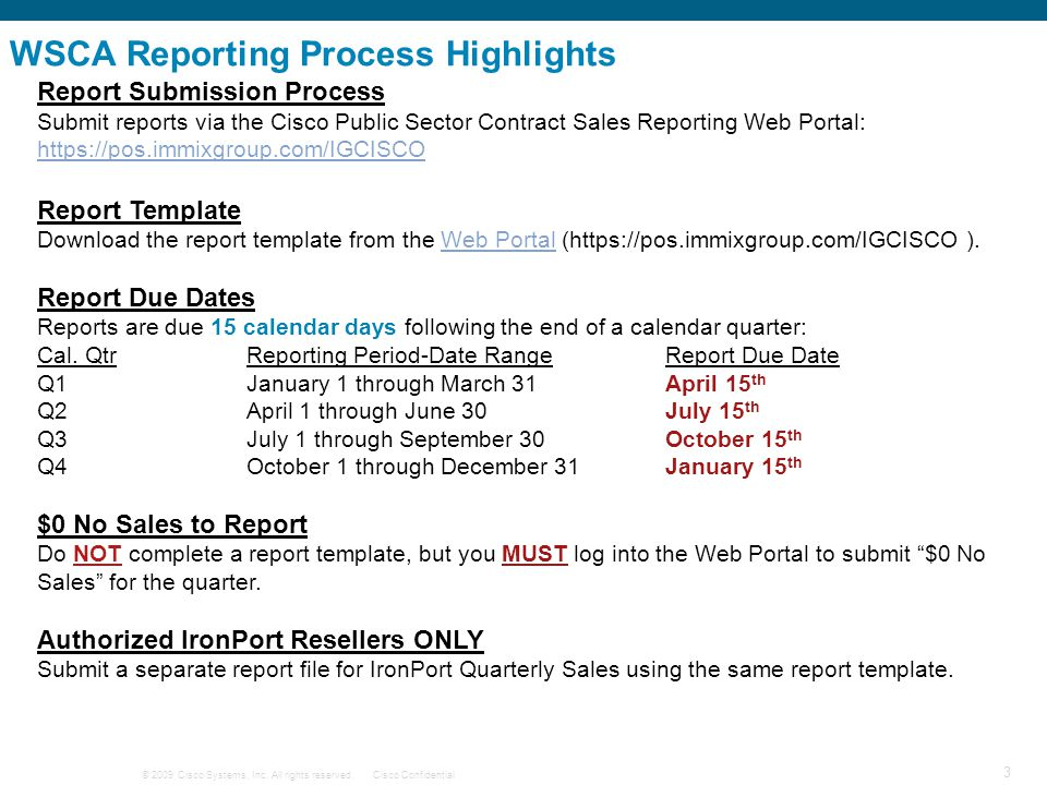 WSCA Reporting Process Highlights