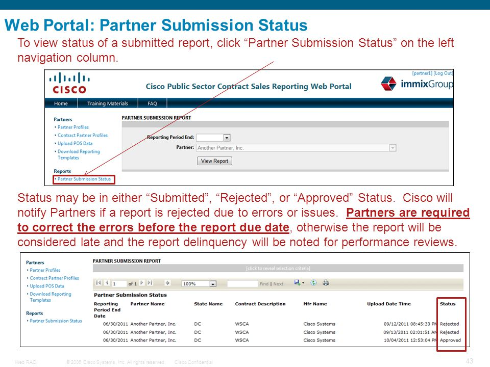 Web Portal: Partner Submission Status