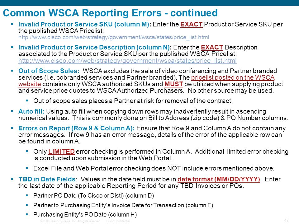 Common WSCA Reporting Errors - continued