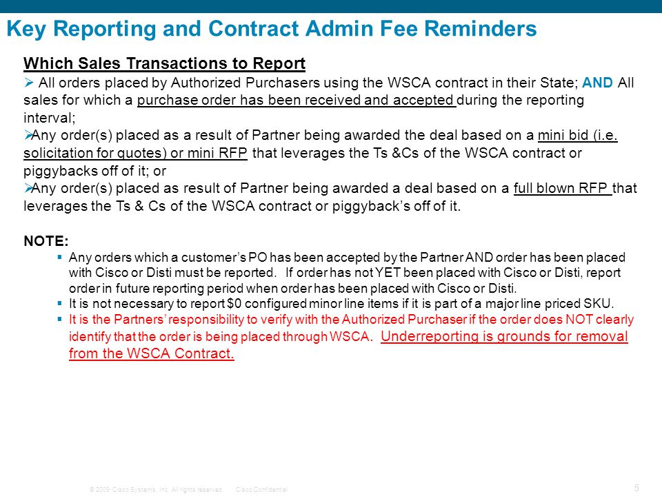 Key Reporting and Contract Admin Fee Reminders
