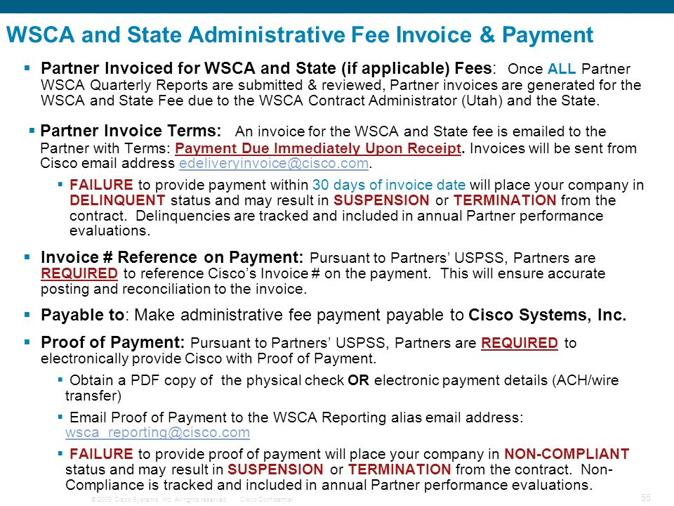 WSCA and State Administrative Fee Invoice & Payment