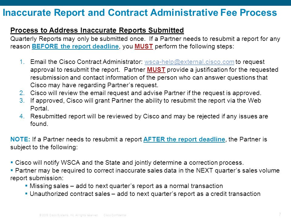 Inaccurate Report and Contract Administrative Fee Process