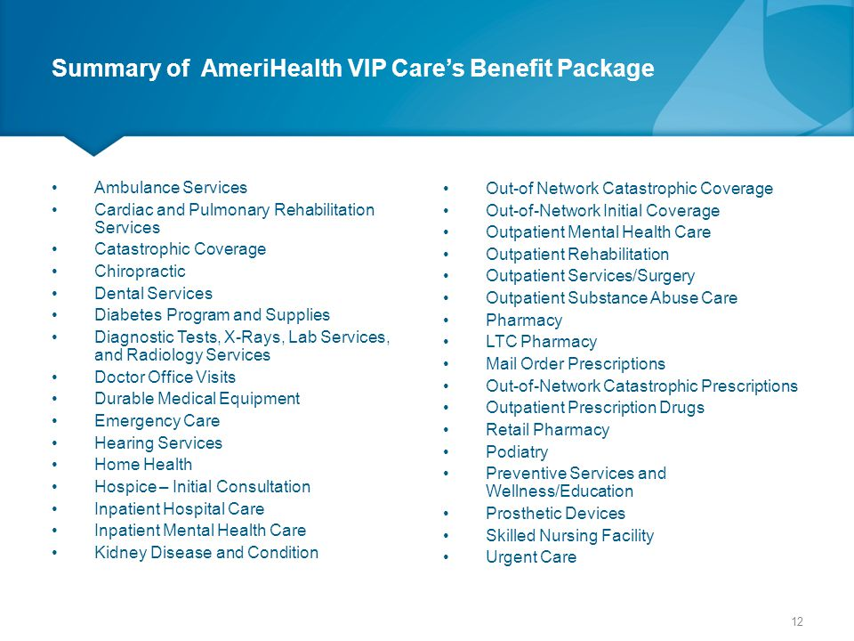 Summary of AmeriHealth VIP Care's Benefit Package