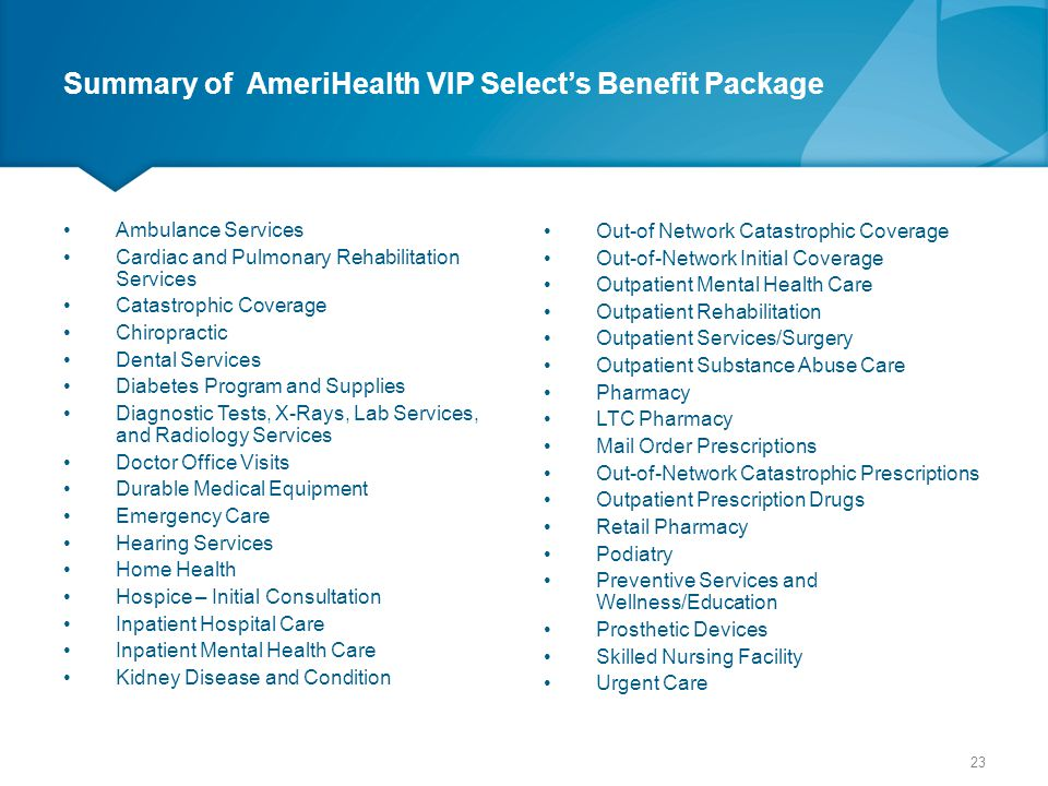 Summary of AmeriHealth VIP Select's Benefit Package
