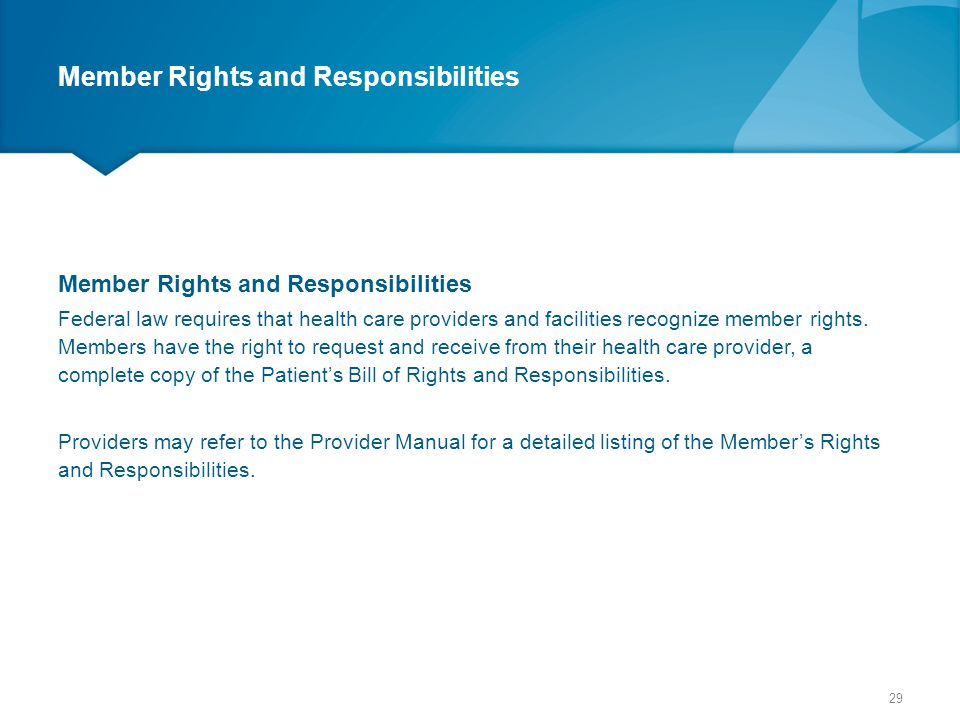 Member Rights and Responsibilities