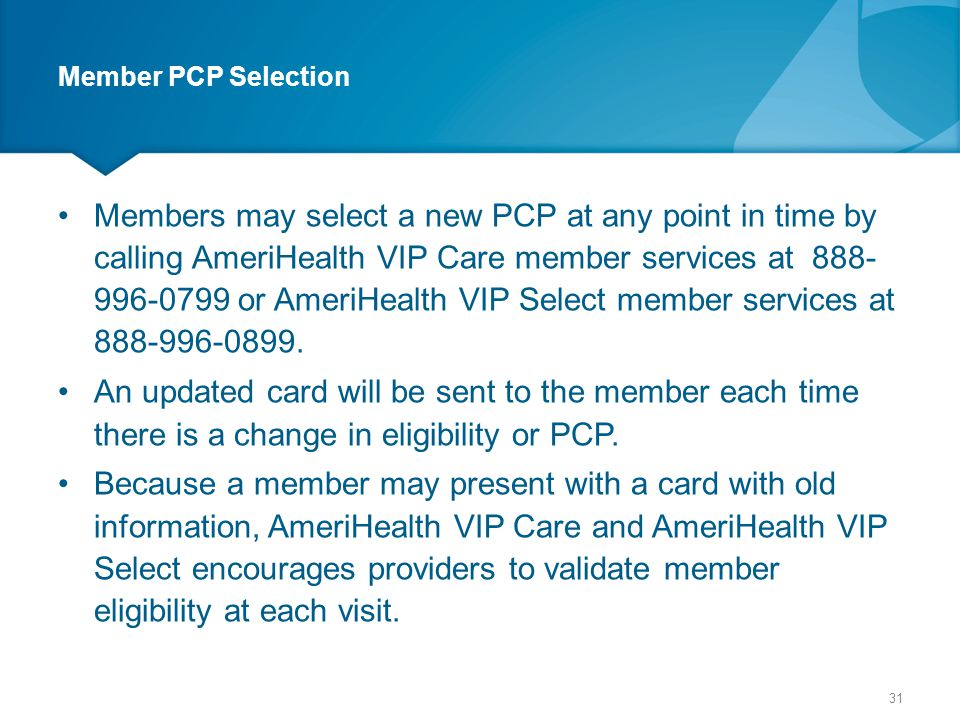 Member PCP Selection