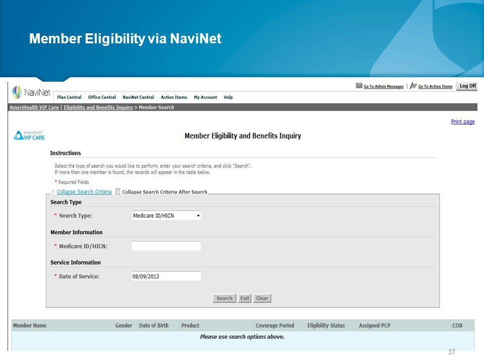Member Eligibility via NaviNet