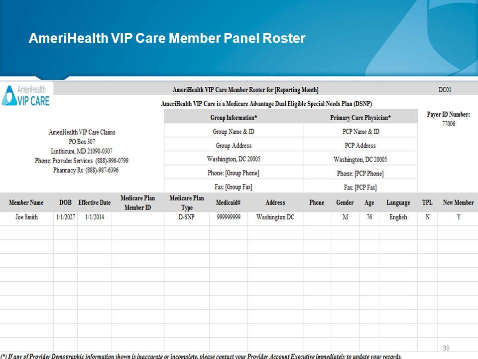 AmeriHealth VIP Care Member Panel Roster