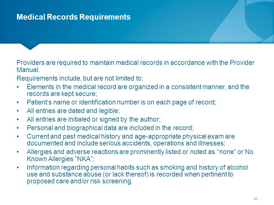 Medical Records Requirements