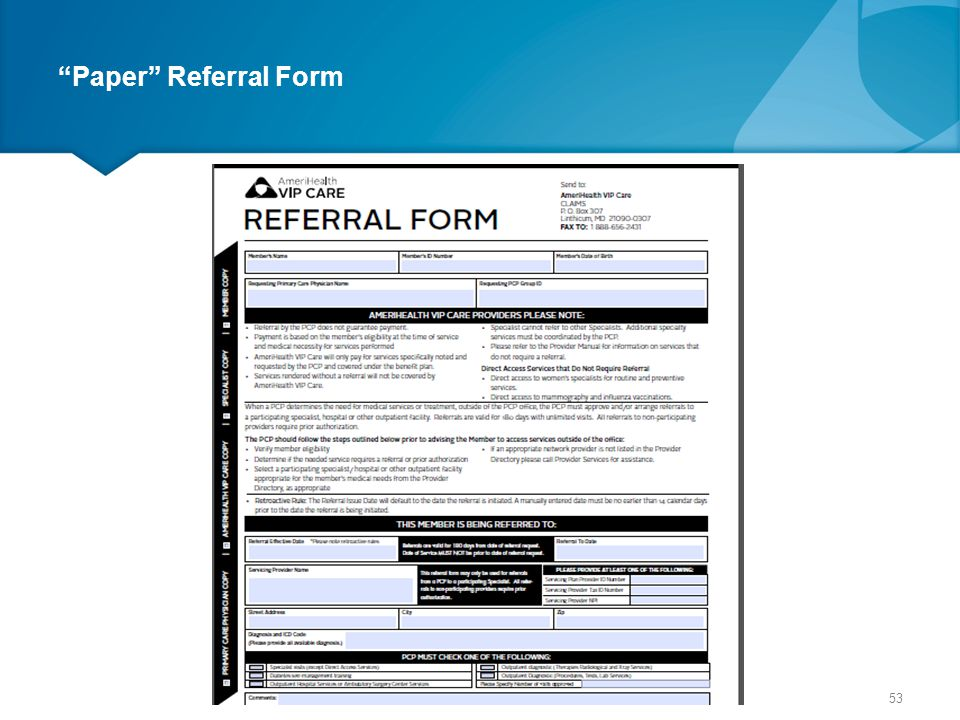 Paper Referral Form