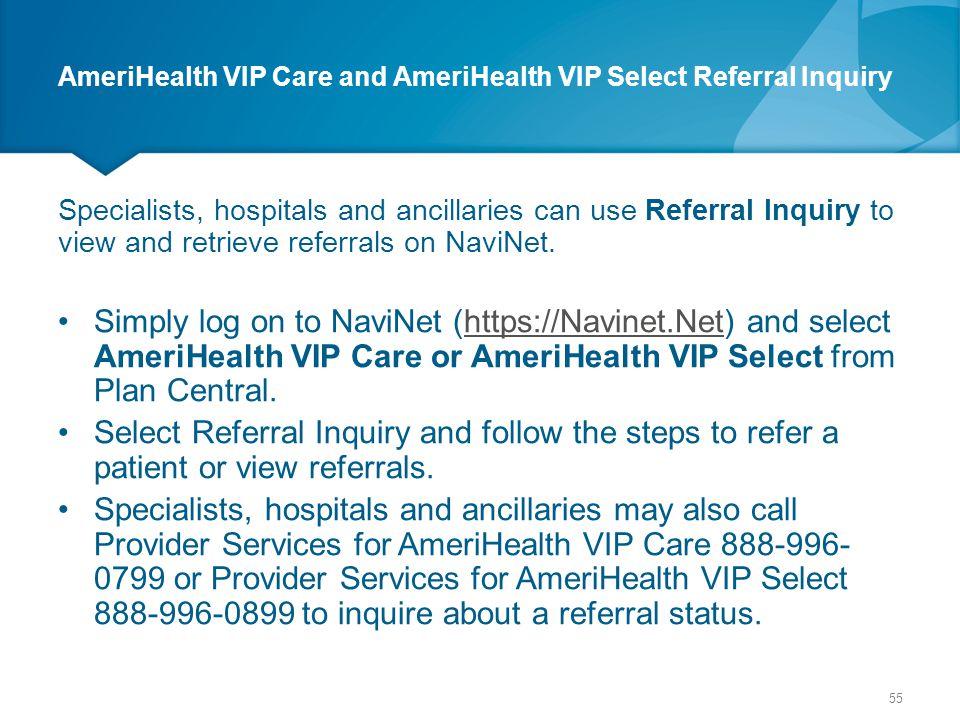 AmeriHealth VIP Care and AmeriHealth VIP Select Referral Inquiry