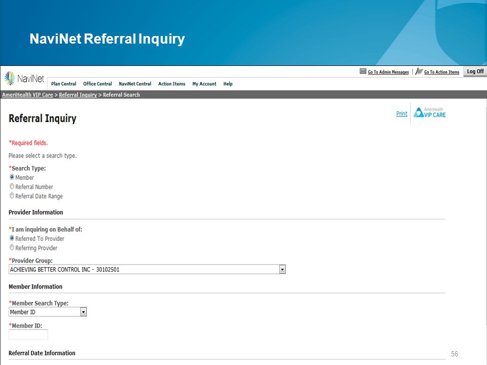 NaviNet Referral Inquiry