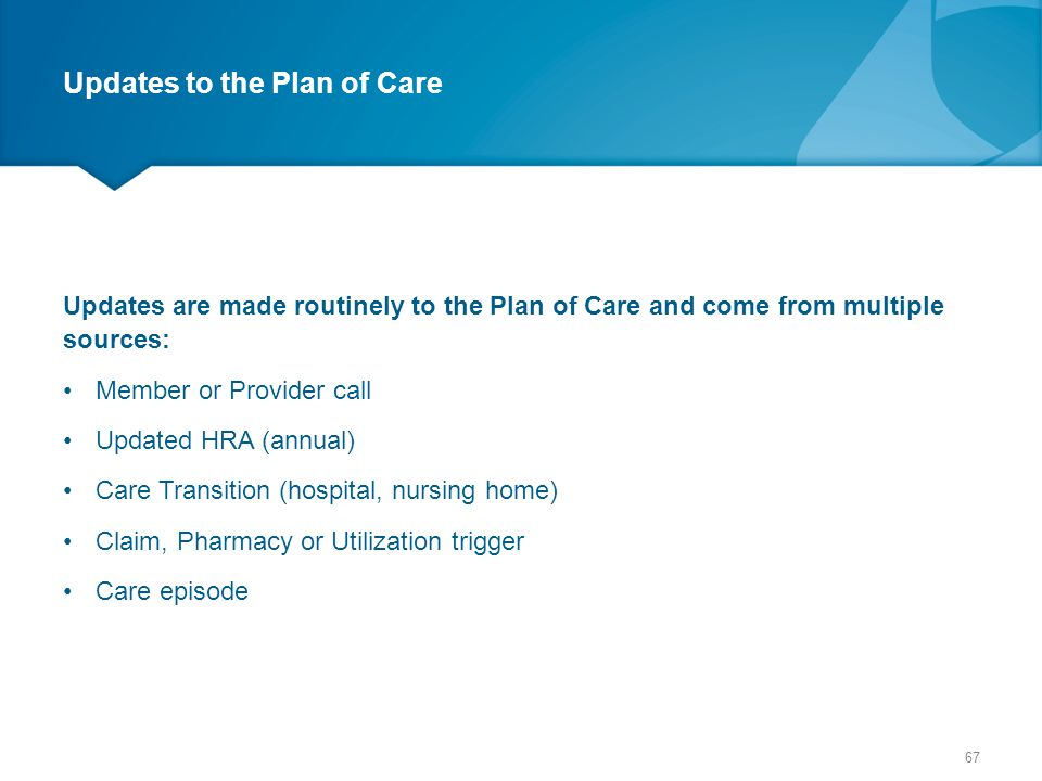 Updates to the Plan of Care