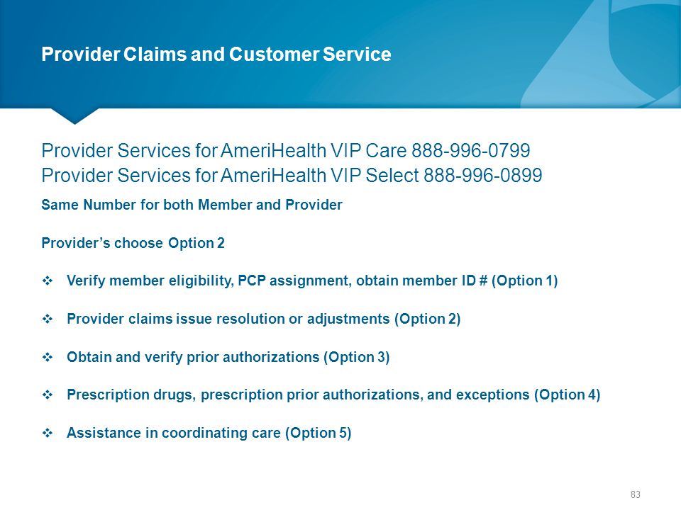 Provider Claims and Customer Service