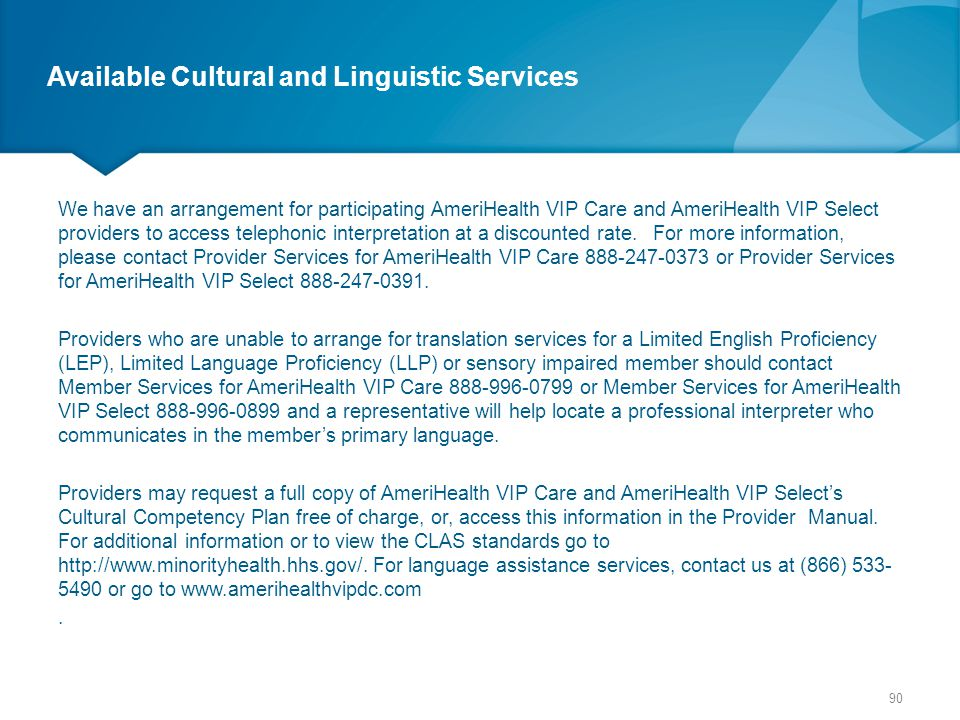 Available Cultural and Linguistic Services