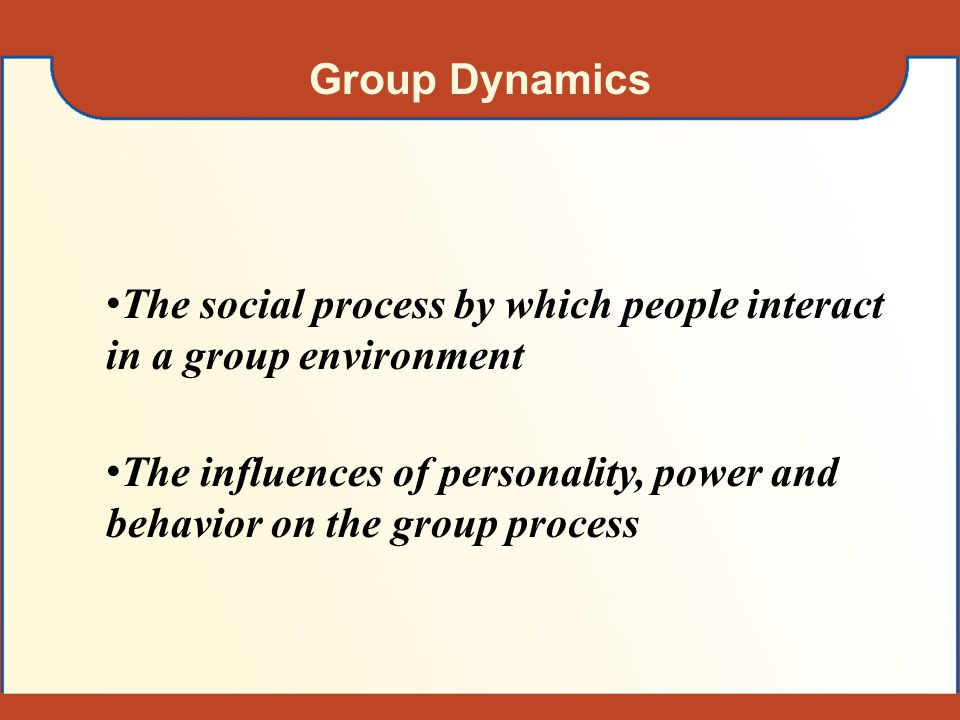 Group Dynamics The social process by which people interact in a group environment.