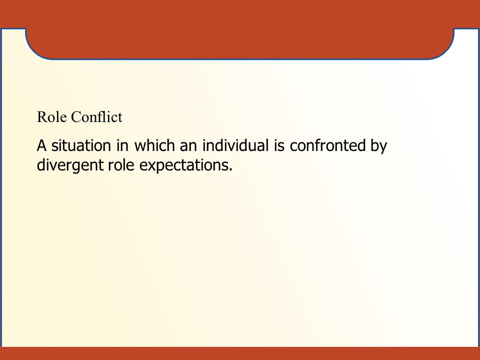 Role Conflict A situation in which an individual is confronted by divergent role expectations.