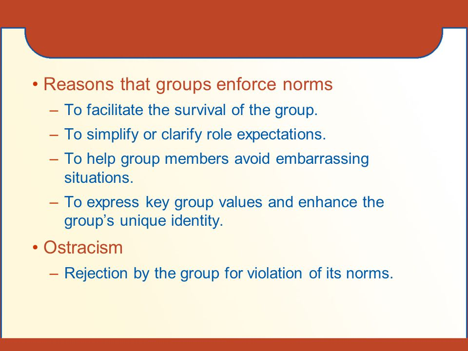 Reasons that groups enforce norms