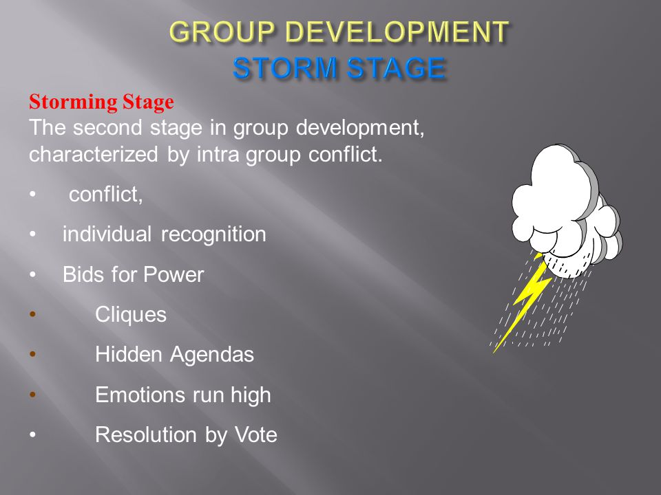 GROUP DEVELOPMENT STORM STAGE