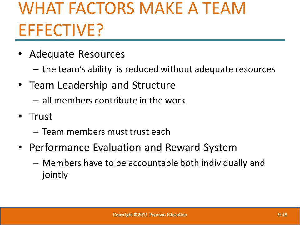 WHAT FACTORS MAKE A TEAM EFFECTIVE