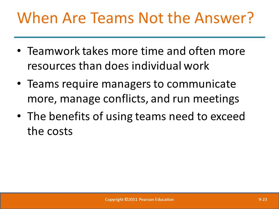 When Are Teams Not the Answer