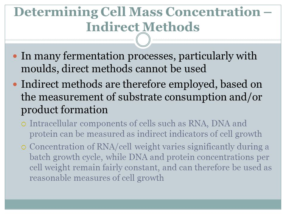 Determining Cell Mass Concentration –Indirect Methods