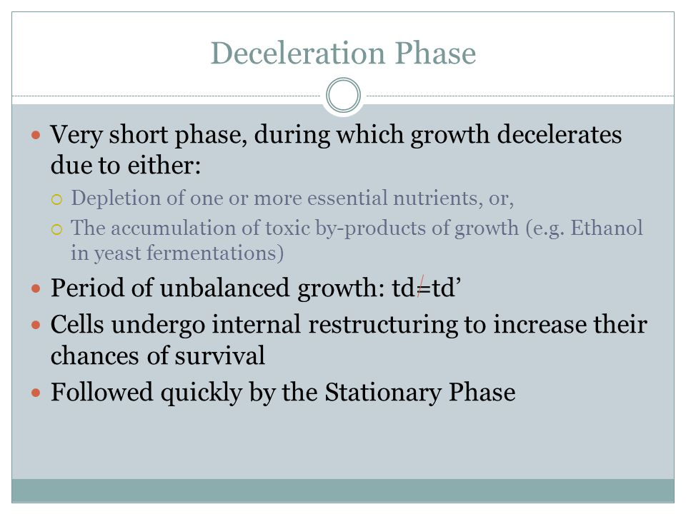 Deceleration Phase Very short phase, during which growth decelerates due to either: Depletion of one or more essential nutrients, or,