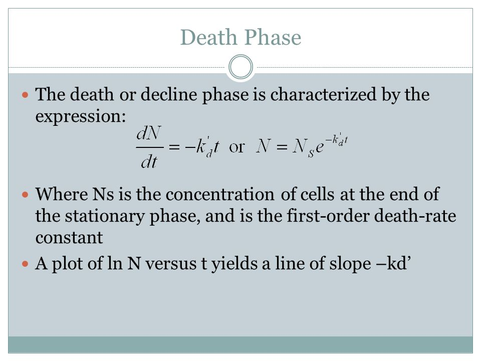 Death Phase The death or decline phase is characterized by the expression: