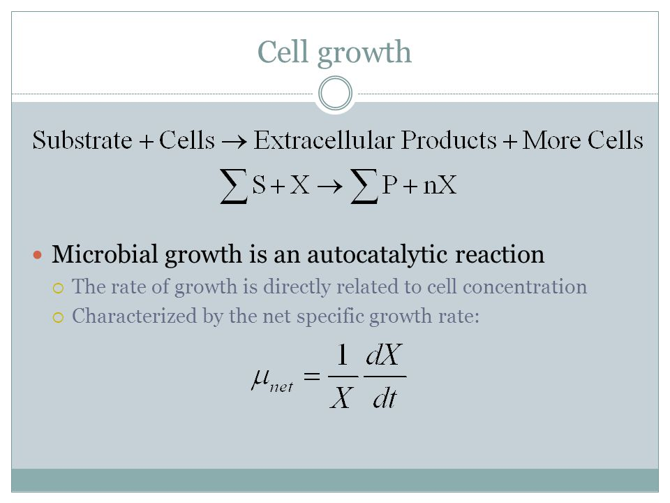 Cell growth Microbial growth is an autocatalytic reaction