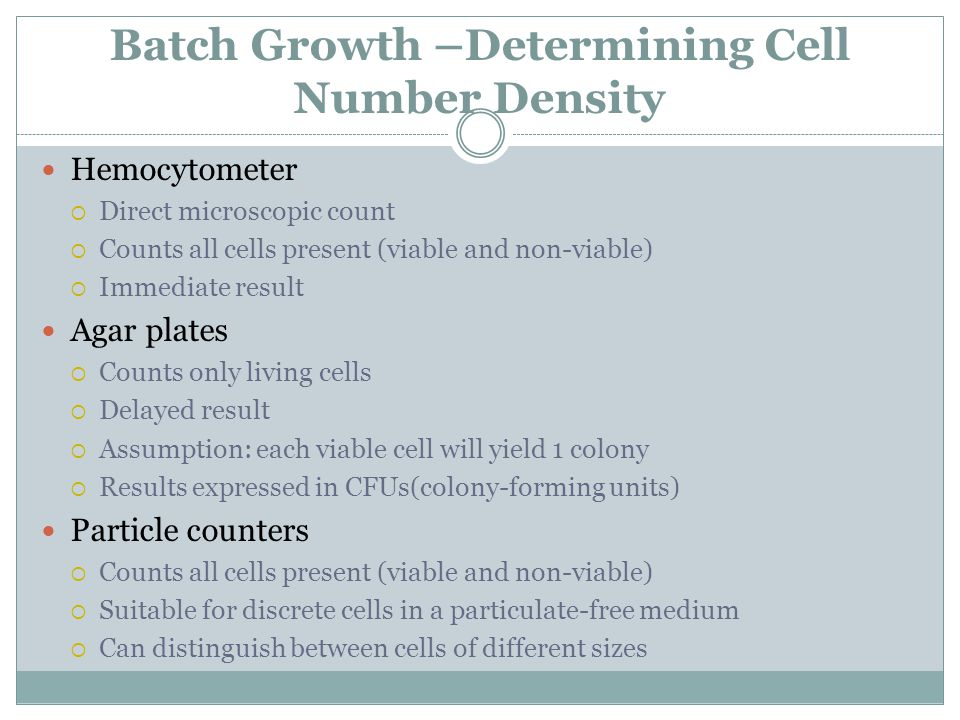 Batch Growth –Determining Cell Number Density