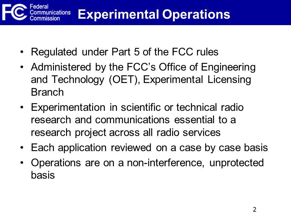 Experimental Operations