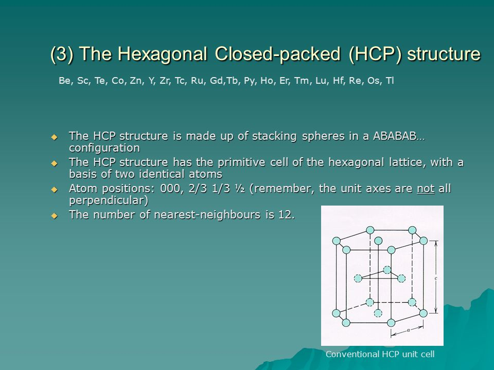 (3) The Hexagonal Closed-packed (HCP) structure