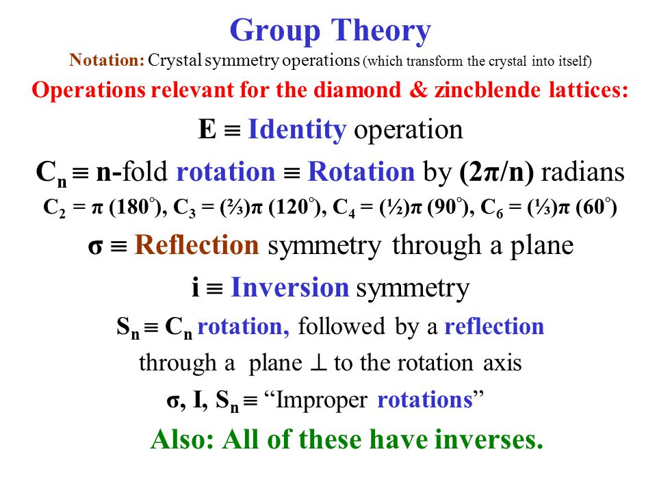 Group Theory Notation: Crystal symmetry operations (which transform the crystal into itself)