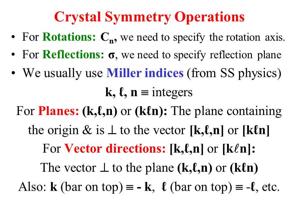 Crystal Symmetry Operations