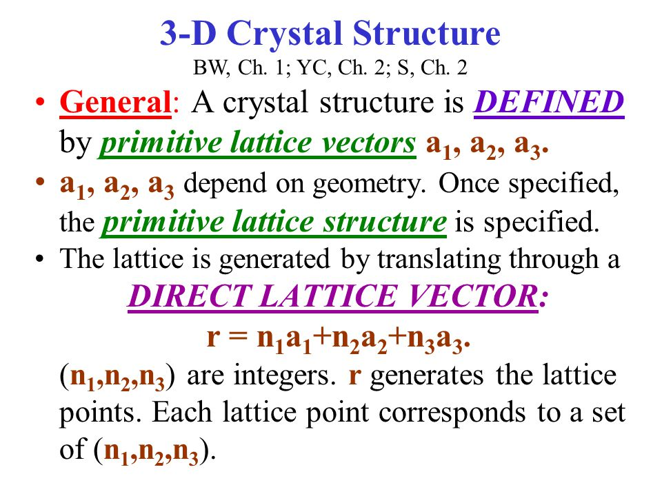 3-D Crystal Structure BW, Ch. 1; YC, Ch. 2; S, Ch. 2
