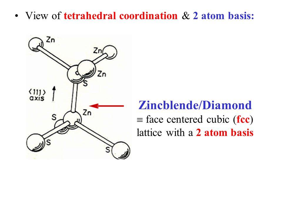 Zincblende/Diamond View of tetrahedral coordination & 2 atom basis: