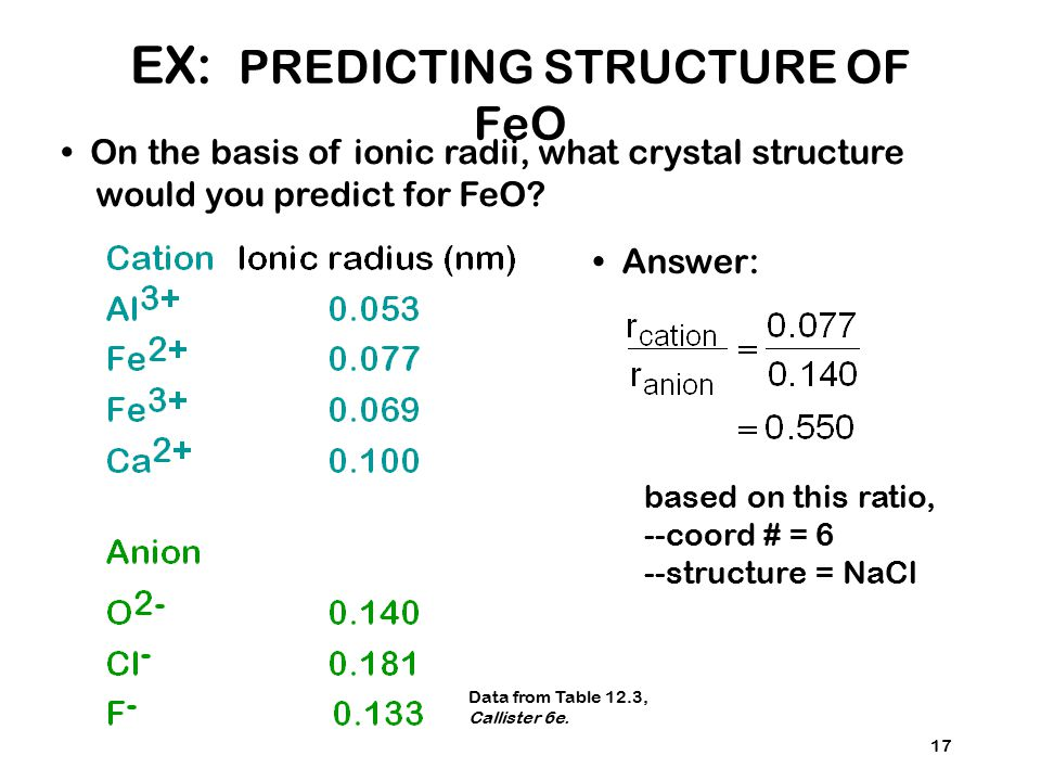 EX: PREDICTING STRUCTURE OF FeO