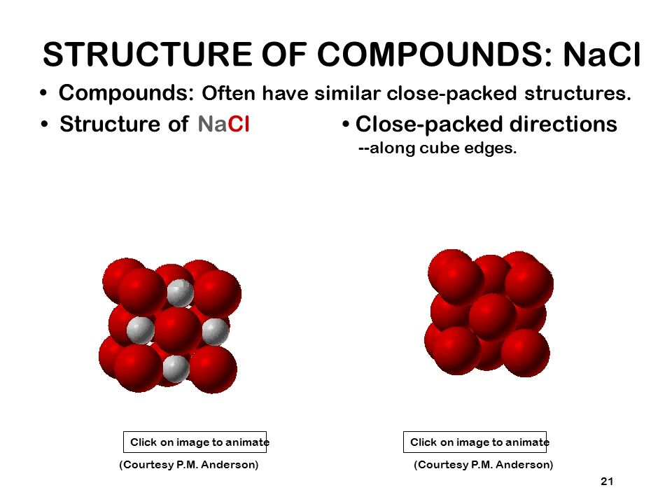 STRUCTURE OF COMPOUNDS: NaCl