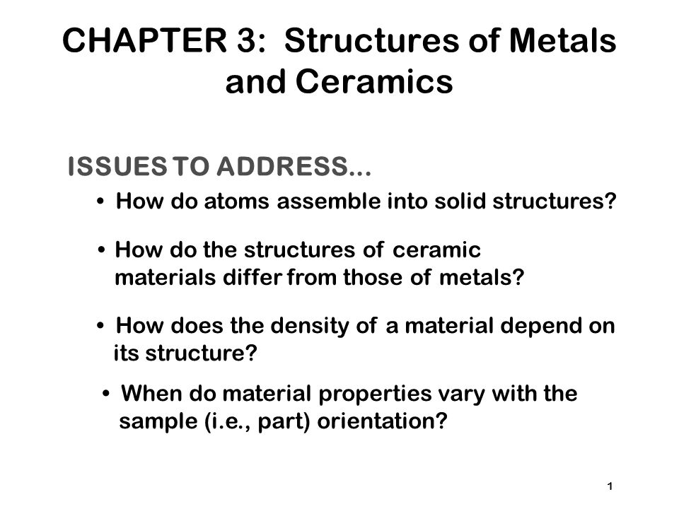 CHAPTER 3: Structures of Metals and Ceramics