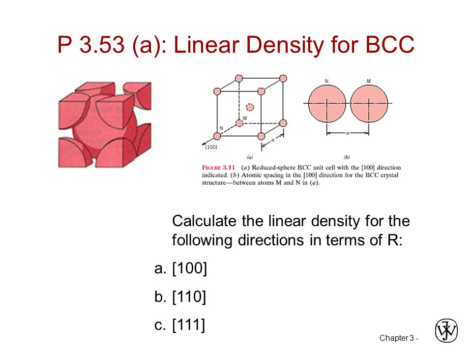 P 3.53 (a): Linear Density for BCC