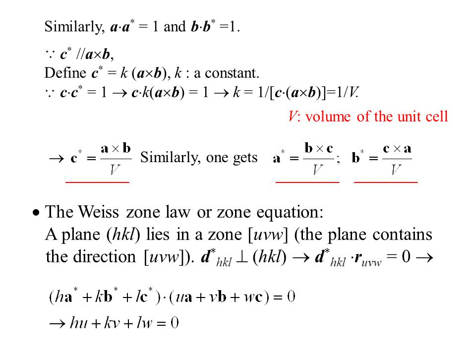  The Weiss zone law or zone equation: