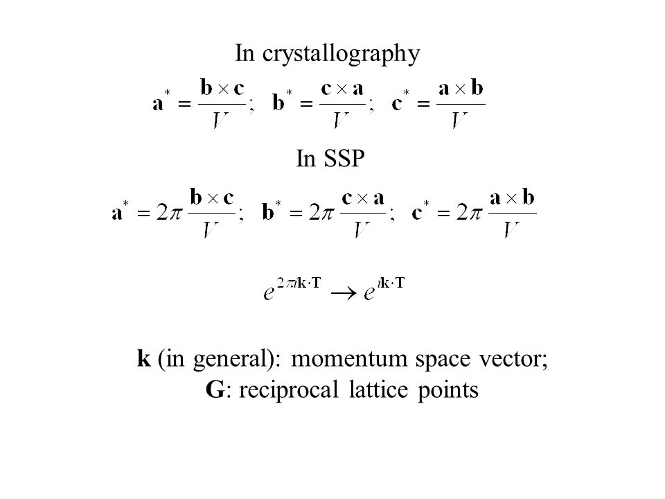 k (in general): momentum space vector; G: reciprocal lattice points