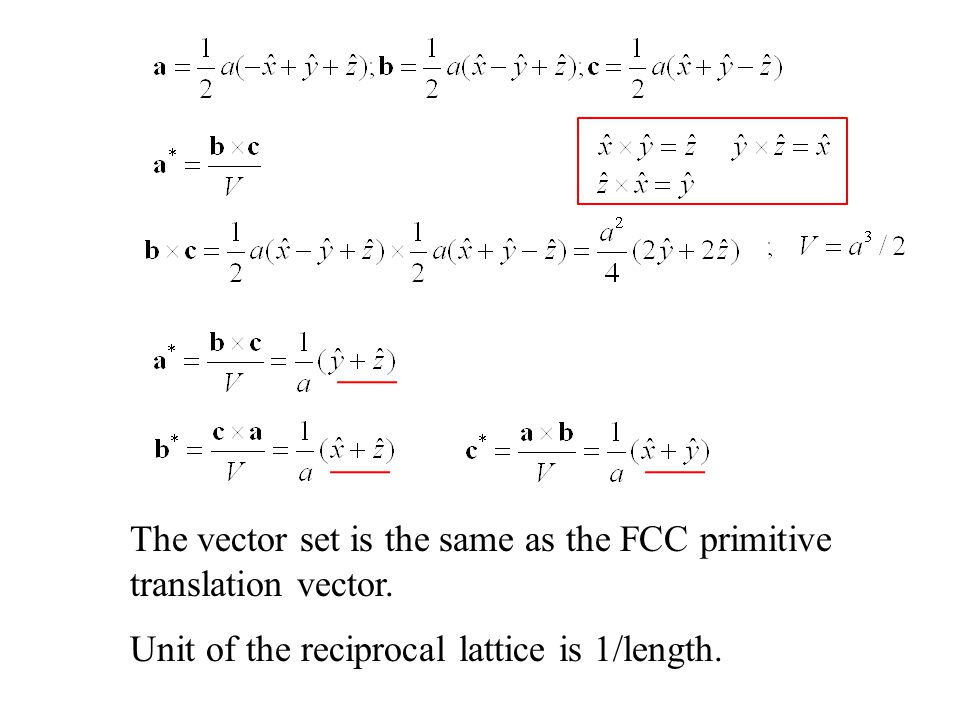The vector set is the same as the FCC primitive