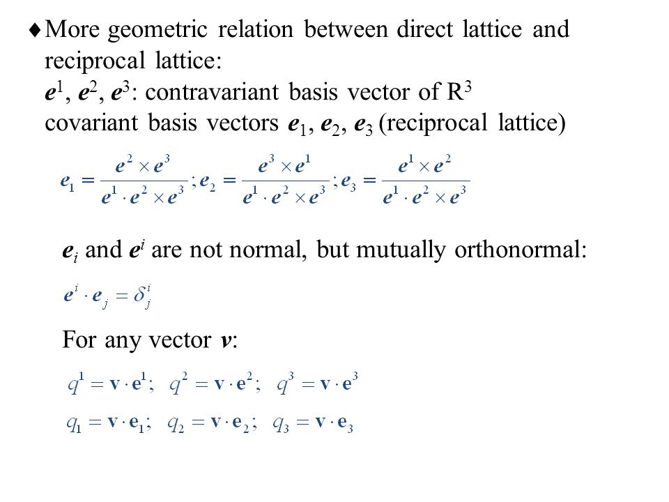 More geometric relation between direct lattice and