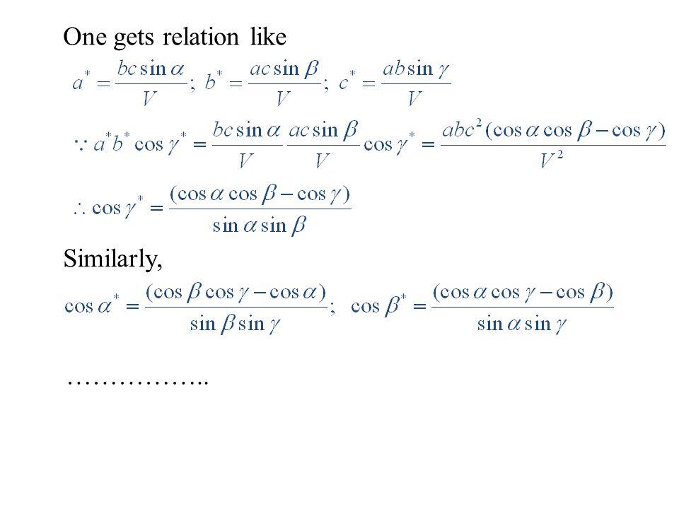 One gets relation like Similarly, ……………..
