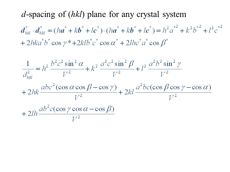 d-spacing of (hkl) plane for any crystal system