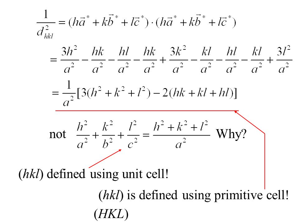 not Why (hkl) defined using unit cell! (hkl) is defined using primitive cell! (HKL)