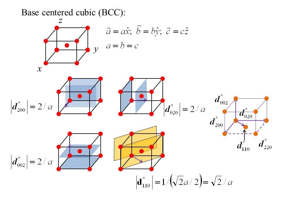Base centered cubic (BCC):