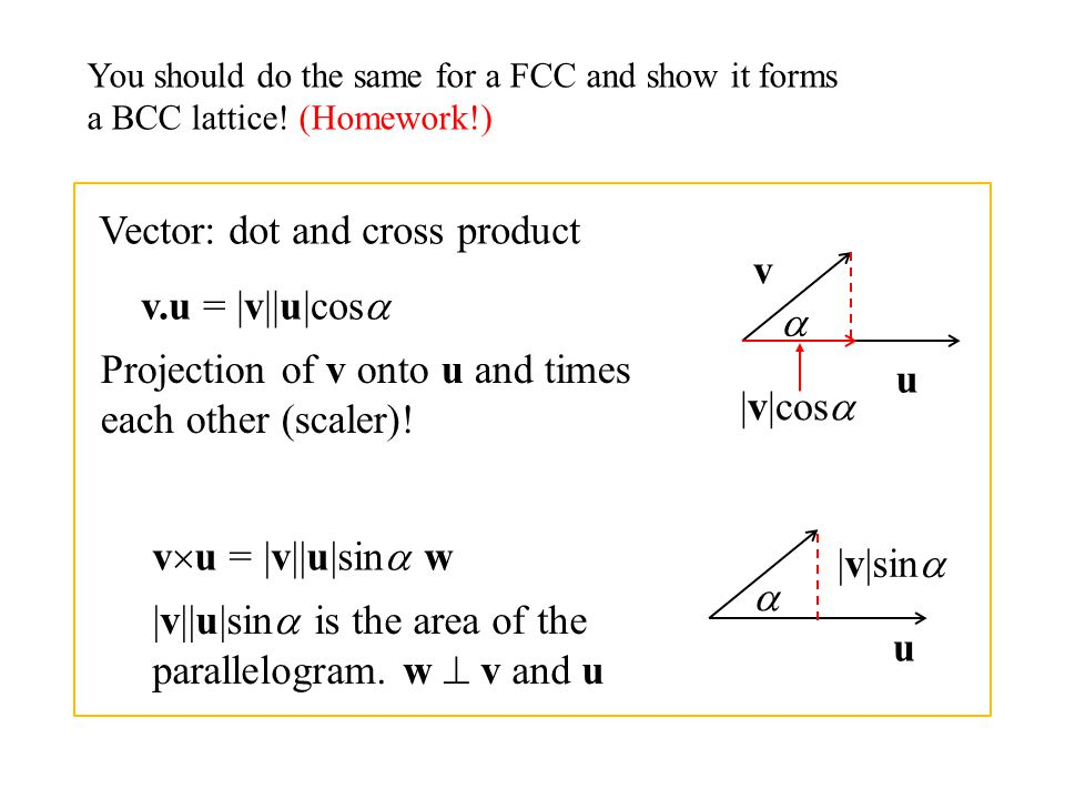 Vector: dot and cross product v v.u = |v||u|cos 